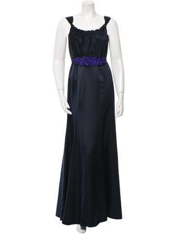 Vera Wang Lavender Label Scoop Neck Belted Gown