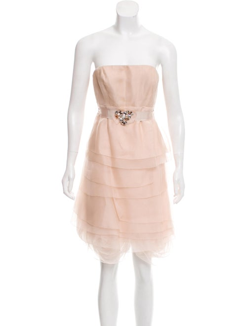 Vera Wang Lavender Label Silk Layered Dress Nude