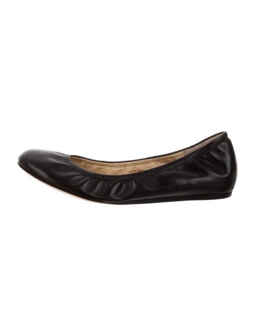 Vera Wang Lavender Label Leather Ballet Flats Blac