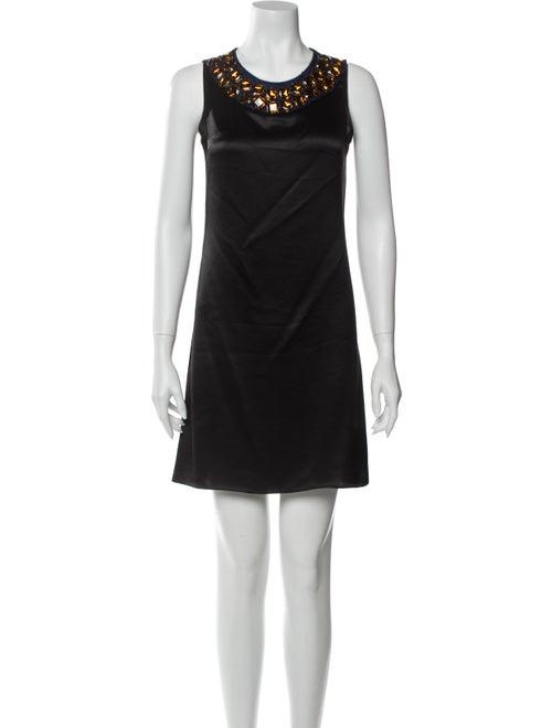 Vera Wang Lavender Label Crew Neck Mini Dress Blac