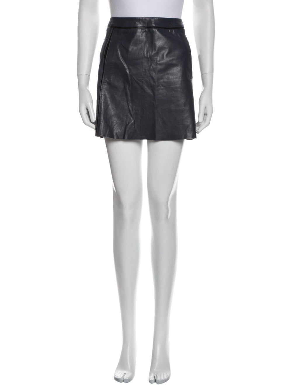 Vince Leather Mini Skirt Blue - image 1