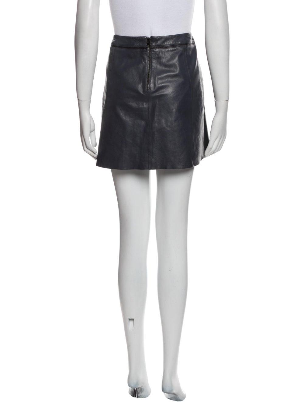 Vince Leather Mini Skirt Blue - image 3