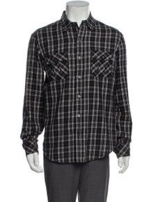 Vince Plaid Print Long Sleeve Western Shirt