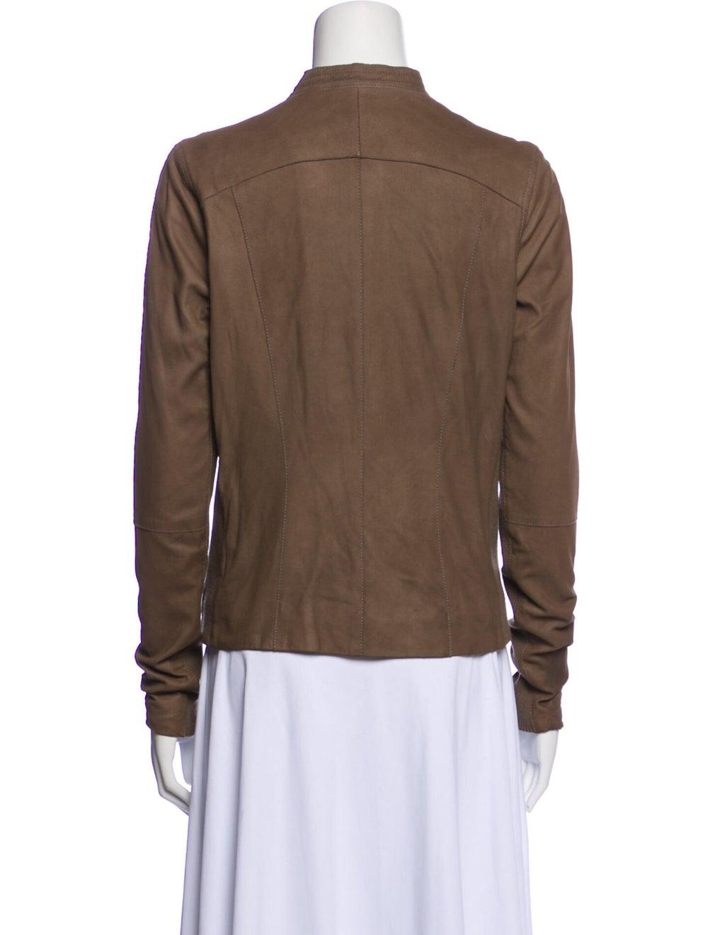 Vince Leather Biker Jacket Brown - image 3