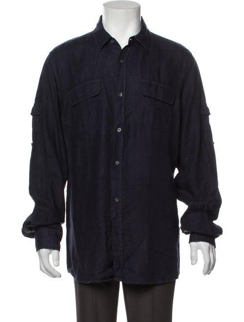 Vince Linen Long Sleeve Shirt Blue