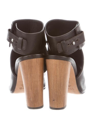 Leather Peep-Toe Booties