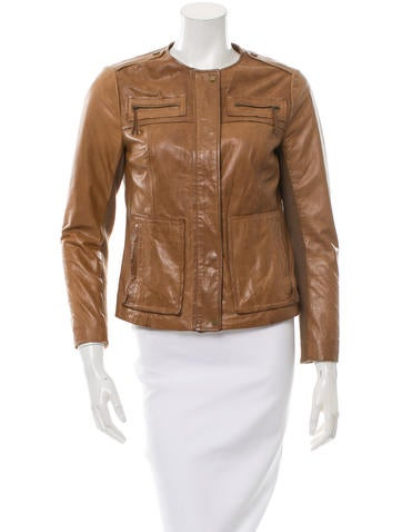 Vince Knit-Trimmed Leather Jacket