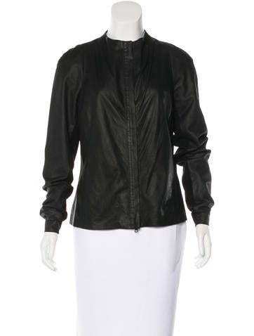 Vince Leather Collarless Jacket None