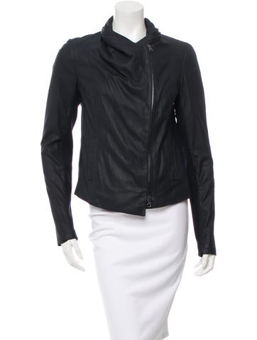 Vince Leather Rib Knit-Trimmed Jacket None