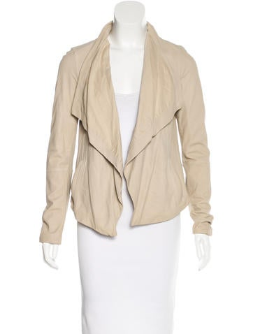 Vince Leather Open Front Jacket None