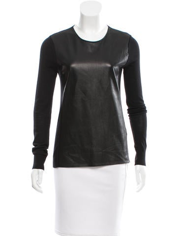 Vince Wool Leather-Accented Top None