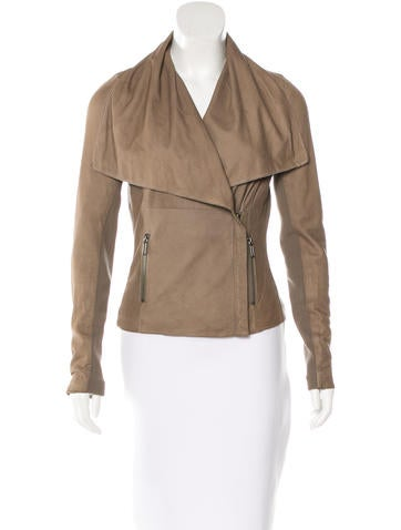 Vince Leather Draped Jacket None
