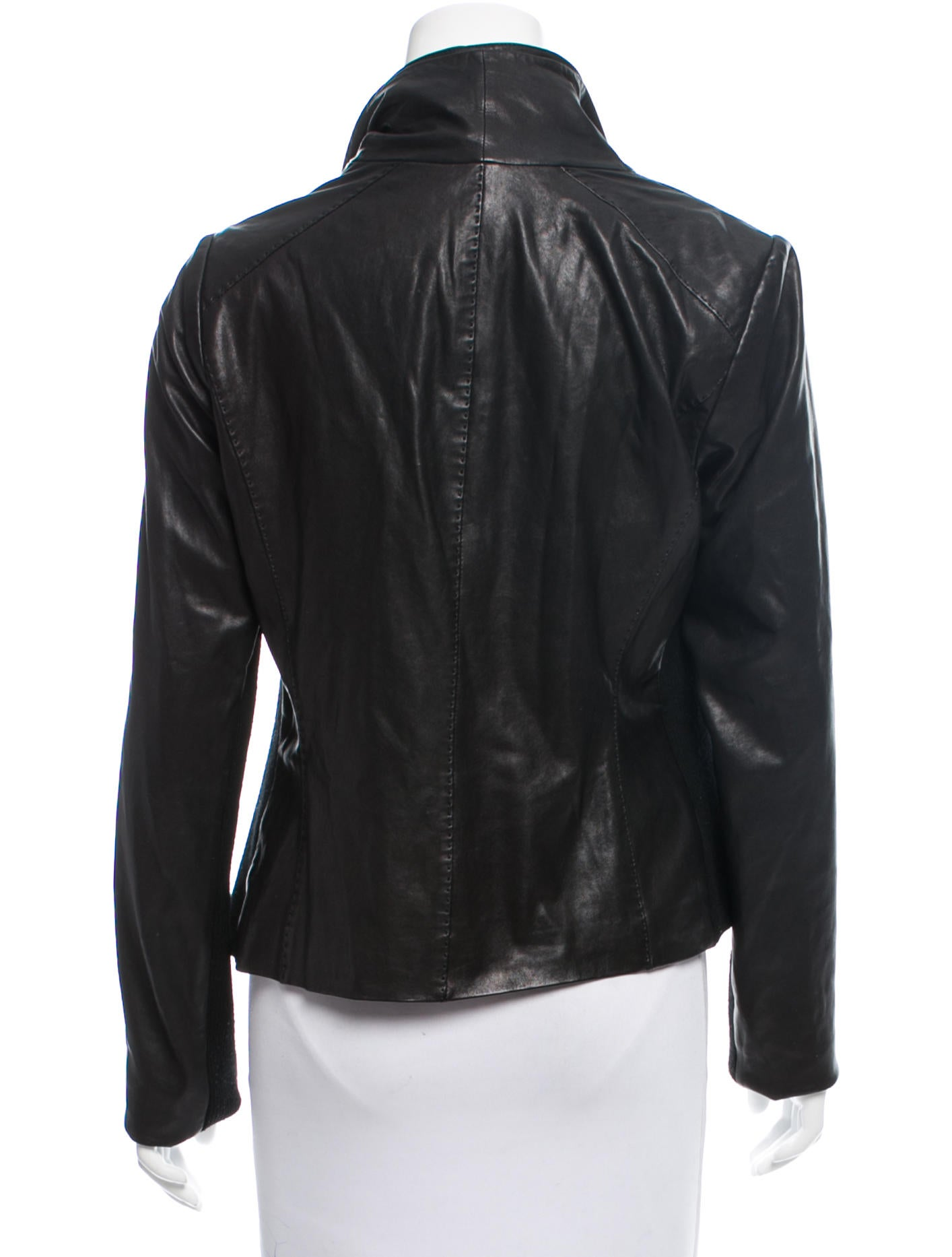 Knit leather jacket