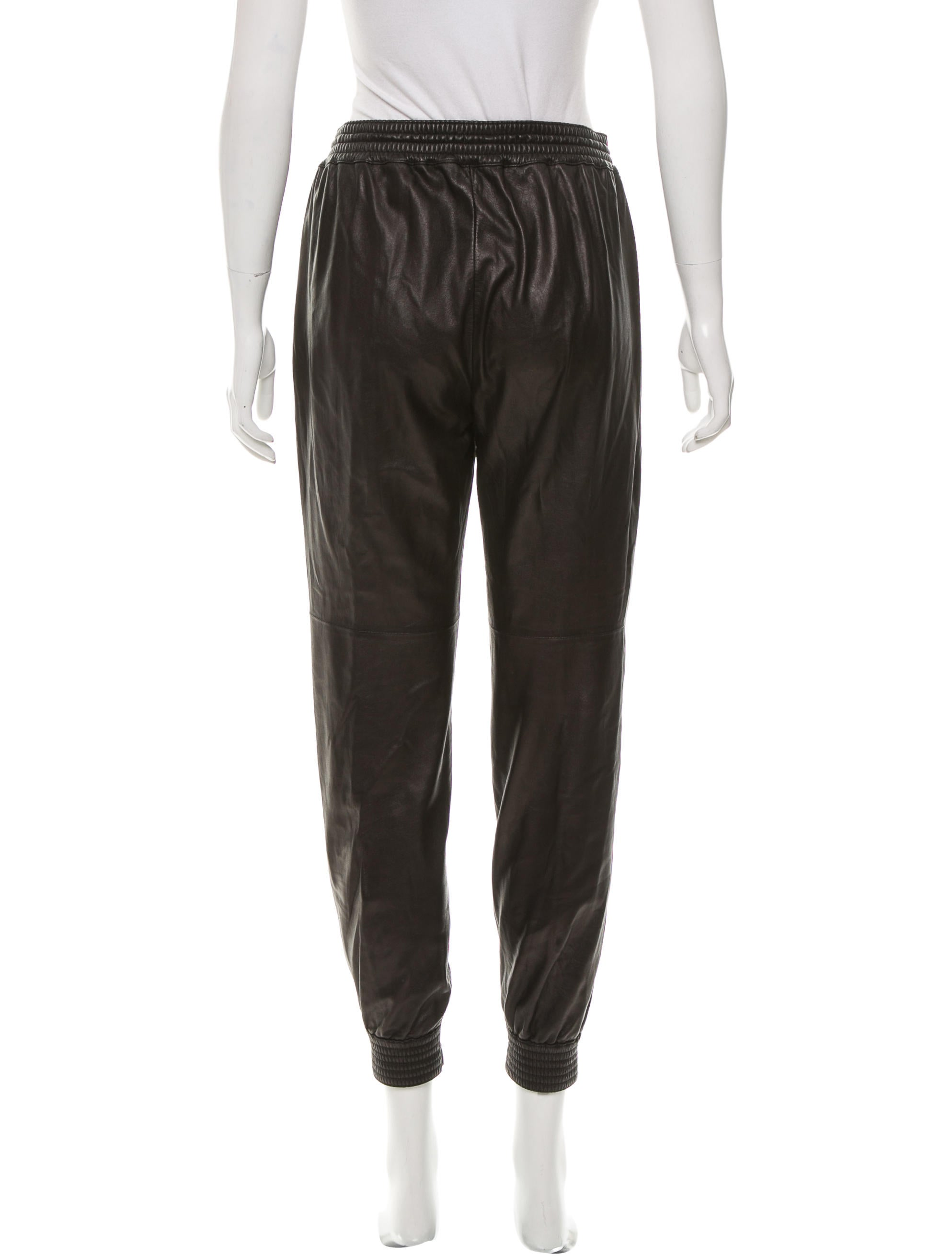 Innovative Leather Jogging Pants For Women Cotton Contrast Faux Leather Joggers