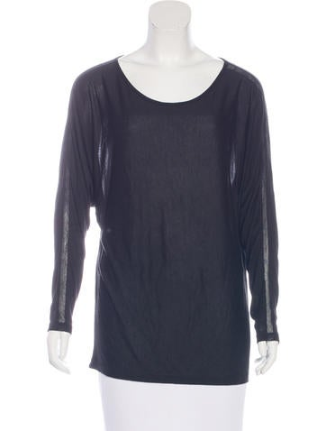 Vince Long Sleeve Mesh-Accented Top None