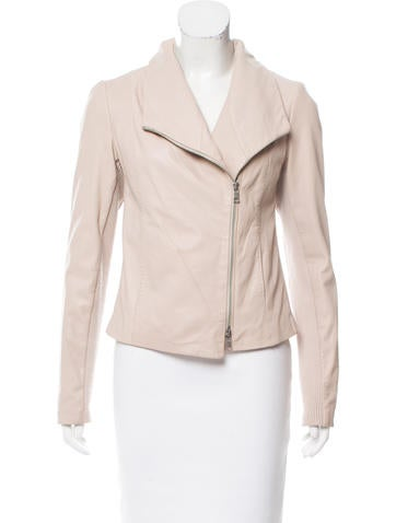 Vince Rib Knit-Accented Leather Jacket None