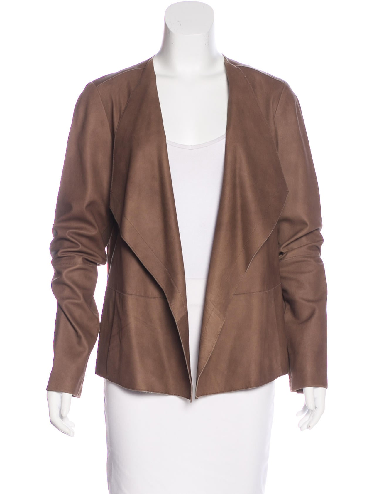 Vince leather open front jacket clothing wvn27586 for Leather jacket and shirt