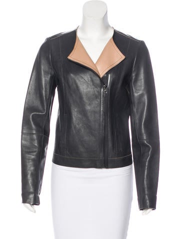 Vince Leather Zip-Up Jacket None