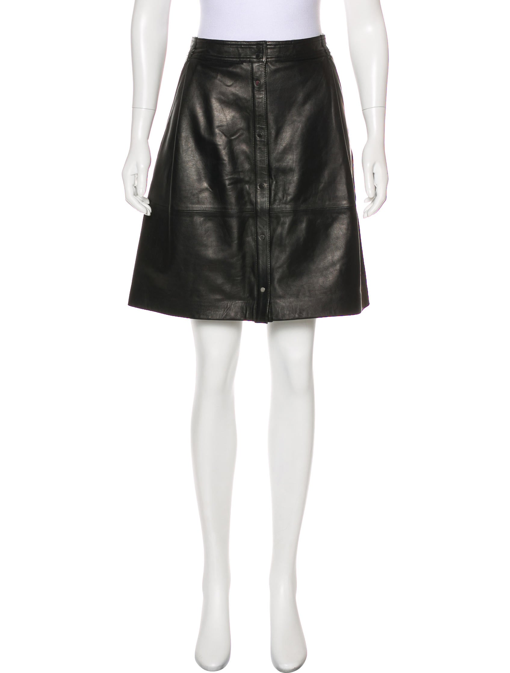 vince leather knee length skirt clothing wvn28132