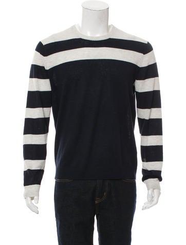 Vince Striped Linen-Blend Sweater None