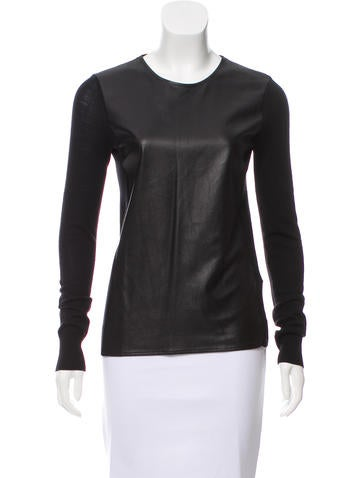 Vince Leather-Paneled Wool Top None