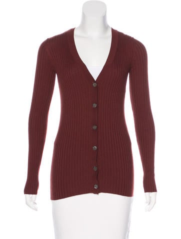 Vince V-Neck Rib Knit Cardigan None