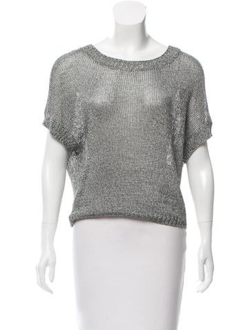 Vince Metallic Open Knit Top None
