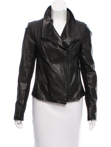 Vince Asymmetrical Leather Jacket None