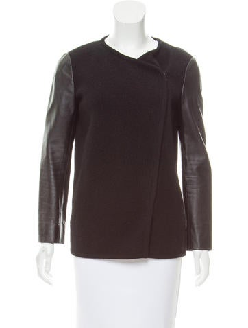 Vince Leather-Trimmed Wool Jacket None
