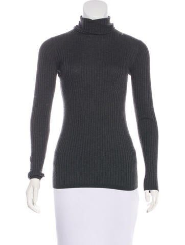 Vince Rib Knit Turtleneck Top None