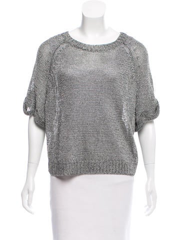 Vince Metallic Knit Top None