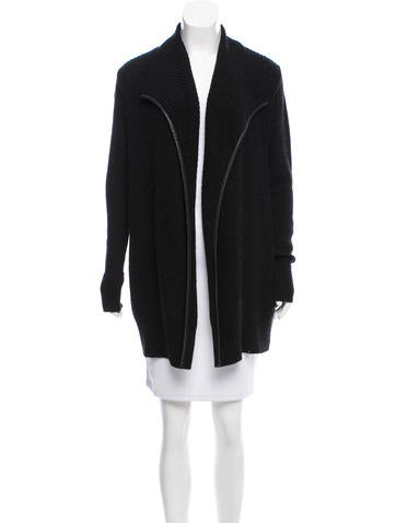 Vince Wool-Blend Leather-Trimmed Cardigan w/ Tags None