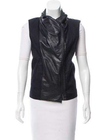 Leather-Trimmed Zip Front Vest