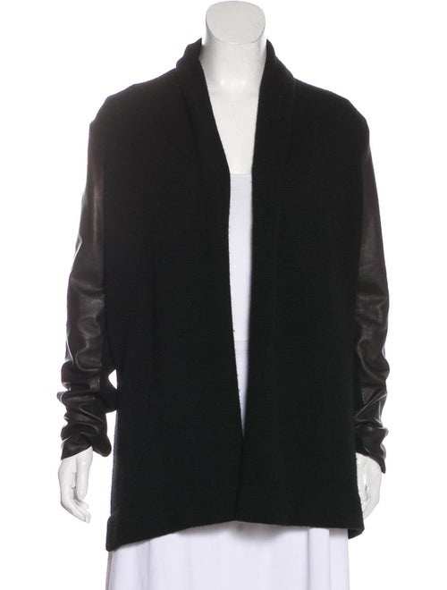 Vince Wool-Blend Leather-Paneled Cardigan Black