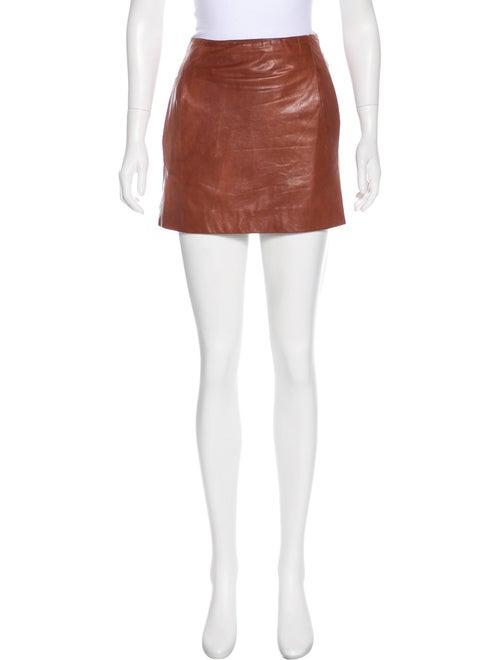 Vince Leather Mini Skirt Cognac