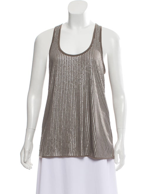 Vince Sequined Sleeveless Top Brown