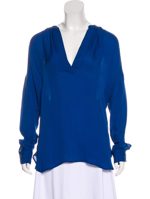 Vince Long Sleeve Silk Blouse Blue