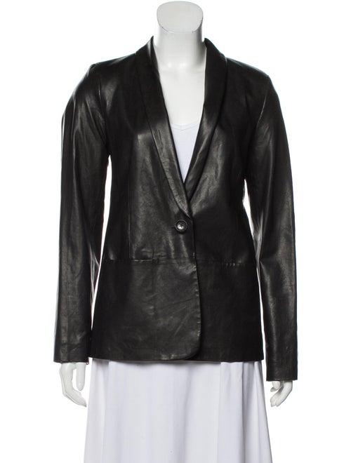 Vince Leather Blazer Black