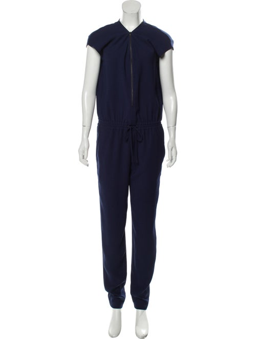 Vince Short Sleeve V-Neck Jumpsuit Navy