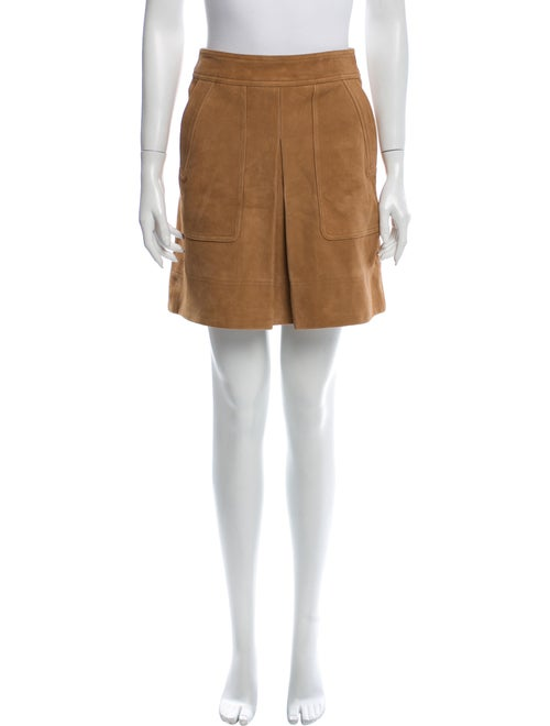 Vince Goat Leather Mini Skirt