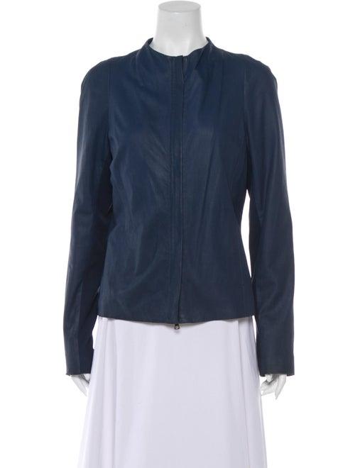 Vince Leather Jacket Blue