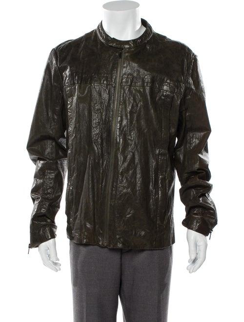 Vince Leather Moto Jacket Green