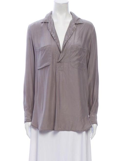 Vince Silk Long Sleeve Blouse Grey