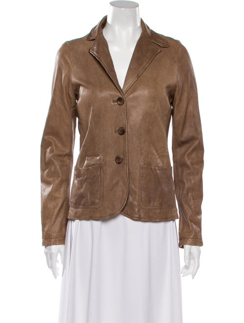 Vince Leather Blazer Brown