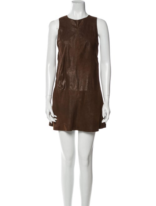 Vince Leather Mini Dress Brown