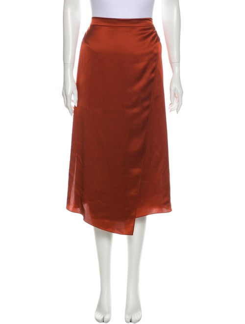 Vince Silk Midi Length Skirt w/ Tags Orange