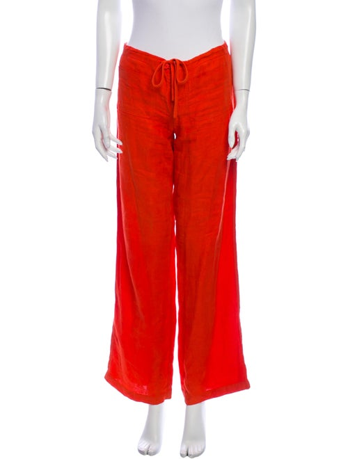 Vince Linen Wide Leg Pants Orange