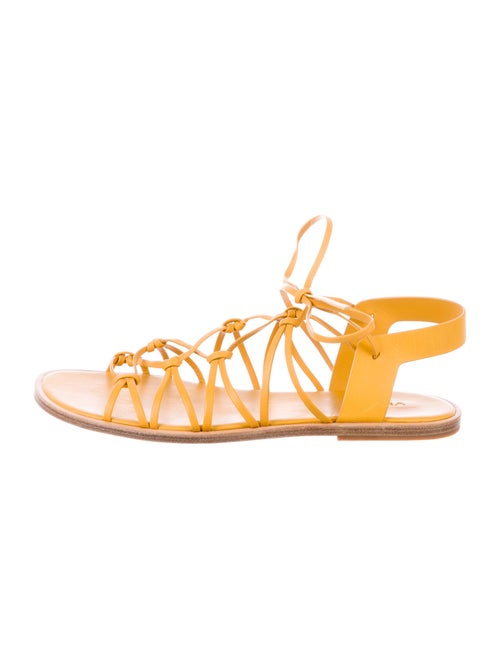 Vince Leather Gladiator Sandals Yellow