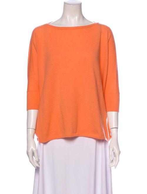 Vince Cashmere Bateau Neckline Sweater Orange