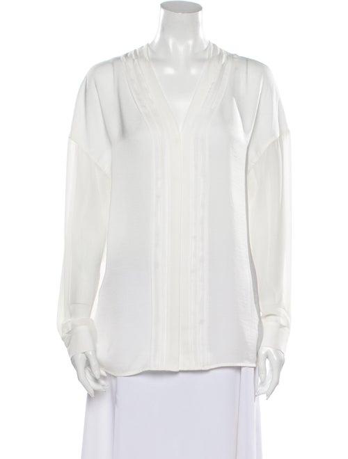 Vince V-Neck Long Sleeve Blouse White